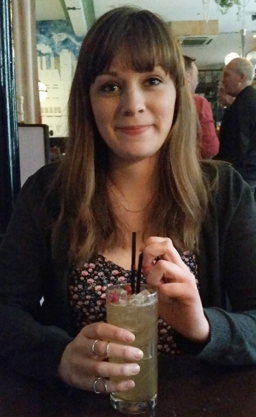 A rare photo of me enjoying a cocktail